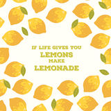 Colorful vector poster with summer lemons. Colorful design style vector illustration poster with summer lemons and leaves in bright colors on white background Royalty Free Stock Photos
