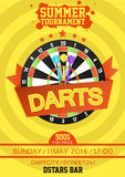 Colorful vector poster template for darts tournament. Royalty Free Stock Photography