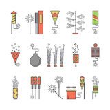 Colorful vector pyrotechnic icons. Firework explosion elements. Line petard salute illustration. Firecracker set. Entertainment decorating. Cartoon surprise Stock Photo