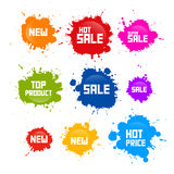 Colorful Vector Sale Blots Icons. Red, Orange, Green, Blue Vector Sale Blots, Splashes, Stains Icons Stock Images