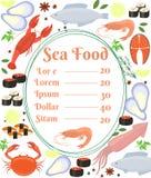 Colorful vector seafood menu poster Royalty Free Stock Photos
