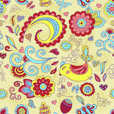 Colorful vector seamless floral pattern and a cute bird. vector illustration