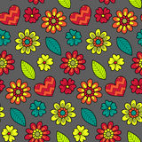 Colorful vector seamless floral pattern. Summer endless background with flowers and hearts. Stock Images