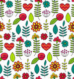 Colorful vector seamless floral pattern. Summer endless background with flowers and hearts. Stock Photos