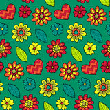 Colorful vector seamless floral pattern. Summer endless background with flowers and hearts. Royalty Free Stock Image