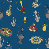 Colorful vector seamless pattern of arabic crockery. Royalty Free Stock Photography