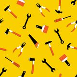 Vector seamless pattern with hammer, nail puller, axe, saw, pliers, paintbrush, screwdriver. Home repair and work tools sign stock illustration