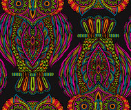 Colorful vector seamless pattern with hand drawn ornate owls Stock Photos