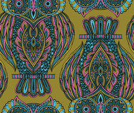 Colorful vector seamless pattern with hand drawn ornate owls Stock Photography