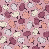 Colorful vector seamless pattern with purple, yellow and orange pumpkins Royalty Free Stock Photo