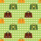 Colorful vector seamless pattern. Various bags on Royalty Free Stock Image