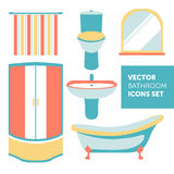 Colorful vector set of bathroom icons in modern flat style Royalty Free Stock Images