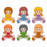 Colorful vector set with dolls. For kids Royalty Free Stock Images