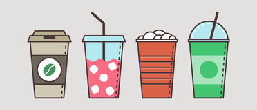 Colorful vector set of flat cup with beverages Royalty Free Stock Image