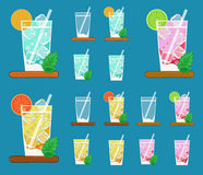 Colorful vector set of glasses with Summer lemonades with fruits Stock Photography