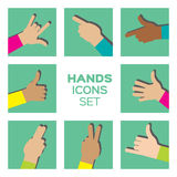 Colorful Vector set of Hands Royalty Free Stock Photos
