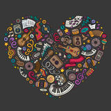 Colorful vector set of Music cartoon doodle objects, symbols Royalty Free Stock Photo