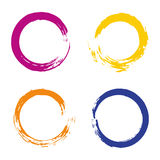 Colorful vector set with rainbow circle brush Stock Photos