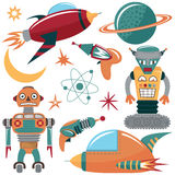 Colorful vector set with robots, spaceships and planets. Royalty Free Stock Photo