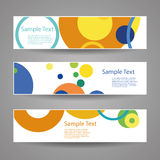 Colorful Vector Set of Three Header Designs With Dots, Circles, Rings. Set of Modern Styled Colorful Horizontal Headers or Banners with Abstract Designs for stock images