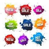 Colorful Vector Splashes Set. Blots with New Title. Hot Sale. And Hot Price - Top Product Stickers - Icons Stock Illustration