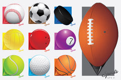 Colorful vector sport balls. map pointer. eps 8 Royalty Free Stock Photos