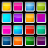 Colorful Vector Square Glass Buttons Set Royalty Free Stock Photo