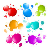 Colorful Vector Stains, Blots, Splashes Set. Isolated on White Background Stock Image