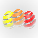 Colorful vector striped Easter eggs Stock Images