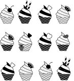Colorful vector summer seamless pattern with fruits and ice cream illustration Stock Photo
