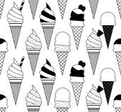 Colorful vector summer seamless pattern with fruits and ice cream illustration Stock Photography