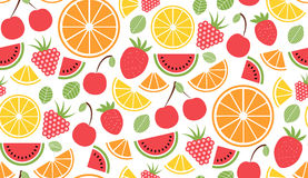 Colorful vector summer seamless pattern with fruits and ice cream illustration Stock Images