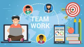 Colorful vector of teamwork concept. Bright vector illustration of social media and teamwork concept on blue world map background Stock Photo