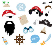 A colorful vector Theme of Pirate. equipments, props and icons Stock Photo
