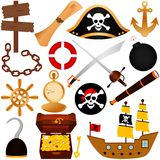 A colorful vector Theme of Pirate, equipments, sai