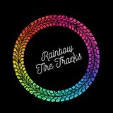 Colorful vector tire tracks. Colorful Tire tracks. Vector illustration on black background Stock Photos
