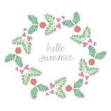 Colorful Vector Vintage Hipster Hello Summer Wreath Illustration Royalty Free Stock Image