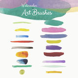 Colorful Vector Watercolor Art Brushes Strokes Royalty Free Stock Images