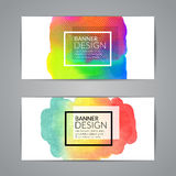 Colorful vector watercolor banners design elements. Vector illustration Stock Image
