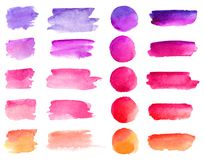 Colorful vector watercolor brush strokes. Rainbow colors watercolor paint stains vector banner backgrounds set.  vector illustration