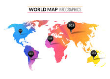 Colorful vector watercolor world map infographics with tags pins and percents Royalty Free Stock Images