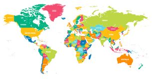 Colorful Vector world map stock illustration