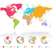 Colorful vector World Map. High detail vector colorful map of the world with political boundaries, country names and 3D globes of the earth Stock Photography