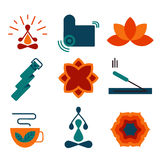 Colorful vector yoga icons and badges. Stock Photos