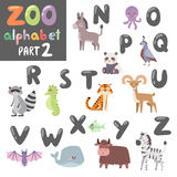 Colorful vector zoo english alphabet with cartoon animals isolated on white background. Stock Images
