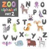Colorful vector zoo english alphabet with cartoon animals isolated on white background. Animals alphabet symbols and wildlife animals font alphabet design Stock Images