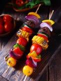 Colorful vegan vegetable skewers Royalty Free Stock Image