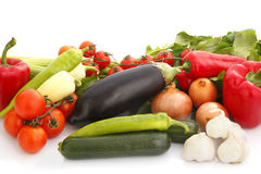 Colorful vegetable arrangement Stock Photos
