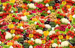 Colorful vegetable background in high resolution. Composition from many photos royalty free stock photos