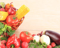 Colorful vegetable frame. A white background Royalty Free Stock Photos